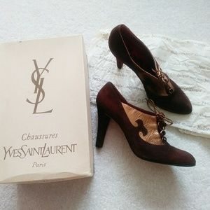 Authentic YSL vtg designer gold suede bootie heels